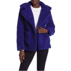 sebby // teddy faux shearling coat // cobalt blue